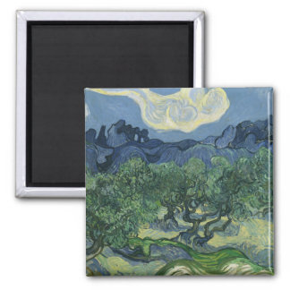 The Olive Trees by Vincent Van Gogh Square Magnet