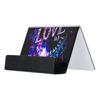 The Ones that Love Us in Amethyst Winter Dreams Desk Business Card Holder