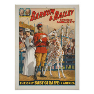 The Only Baby Giraffe in America Circus Poster