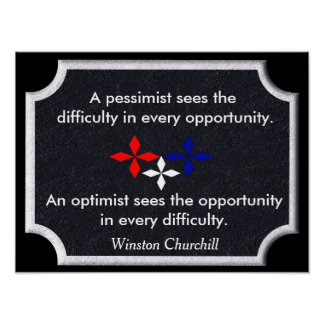 The Optimist - Winston Churchill quote - print