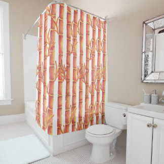 The Orange Bamboo Garden Shower Curtain