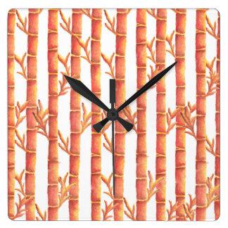 The Orange Bamboo Garden Square Wall Clock
