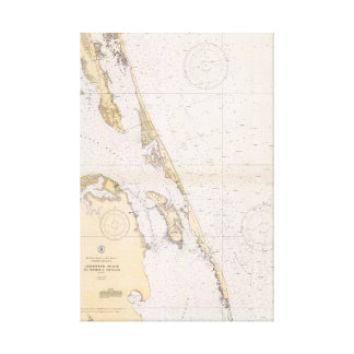 The Outer Banks of North Carolina Nautical Chart Canvas Print