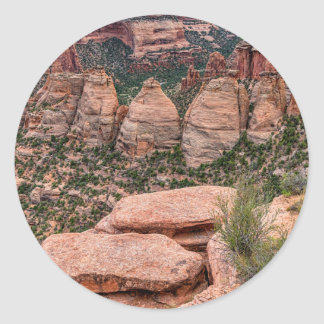 The Ovens Rock Formation Western Landscape Classic Round Sticker