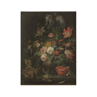 The overturned Bouquet, Abraham Mignon, 1660 - 167 Wood Poster