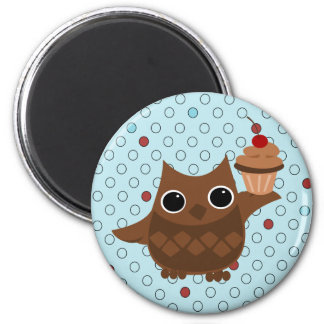 The Owl and the Cupcake 6 Cm Round Magnet