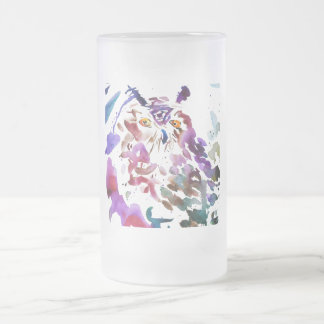 ''The owl'' Frosted Glass Beer Mug
