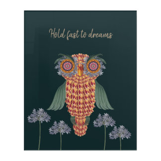 The Owl of wisdom and flowers Acrylic Print