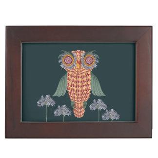 The Owl of wisdom and flowers Keepsake Box