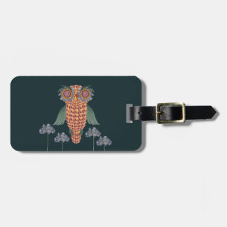 The Owl of wisdom and flowers Luggage Tag