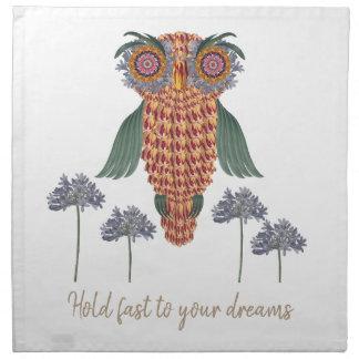 The Owl of wisdom and flowers Napkin