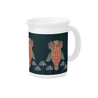 The Owl of wisdom and flowers Pitcher