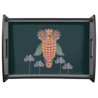 The Owl of wisdom and flowers Serving Tray