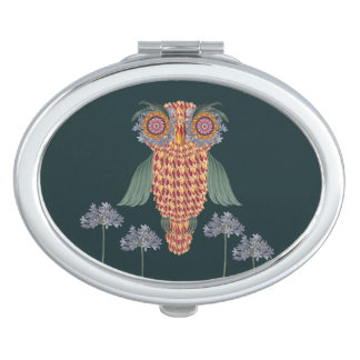 The Owl of wisdom and flowers Travel Mirror