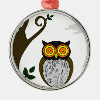 The owl Silver-Colored round decoration