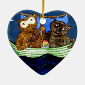 The Owl & The Pussycat Ceramic Heart Decoration