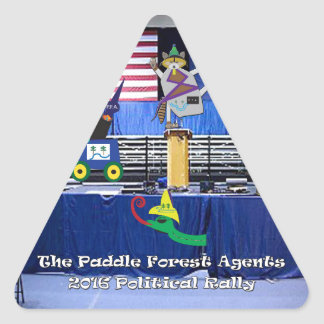 The paddle forest agents political rally triangle sticker