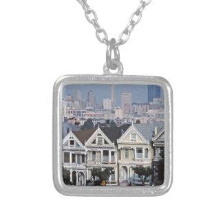 The Painted Ladies San Francisco Square Pendant Necklace