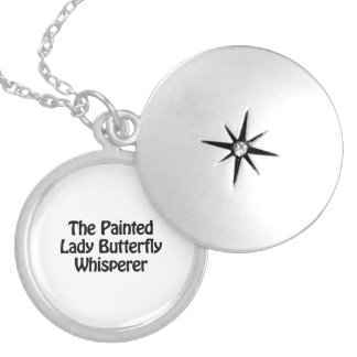 the painted lady butterfly whisperer round locket necklace