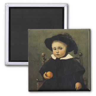 The Painter Adolphe Desbrochers as a Child Square Magnet