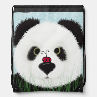 The Panda Bear And His Visitor Drawstring Backpack