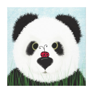 The Panda Bear And His Visitor Gallery Wrap Canvas