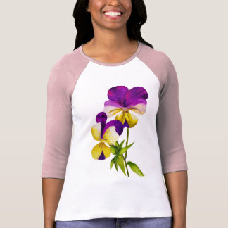 'The Pansy Party' on a 3/4 Sleeve T-shirt (I)