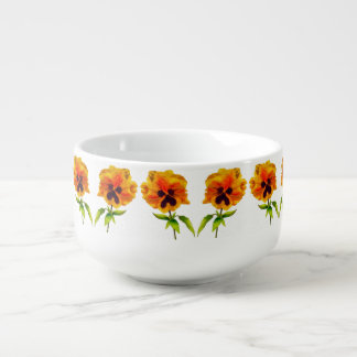 'The Pansy Party' on a Soup Mug (III)