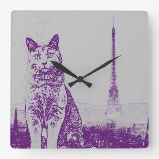 The Paris Chartreux Cat Square Wall Clock