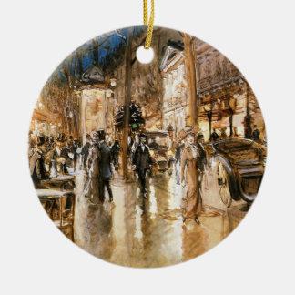 The Paris night Round Ceramic Decoration