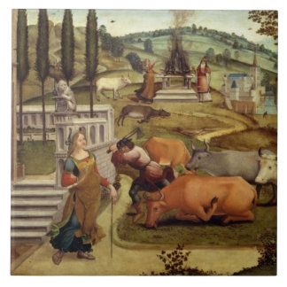 The Passions of Pasiphae, wife of King Minos of Cr Large Square Tile