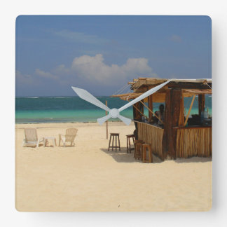 The Perfect Beach Bar Square Wall Clock