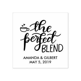The Perfect Blend Handwritten Script Wedding Favor Rubber Stamp
