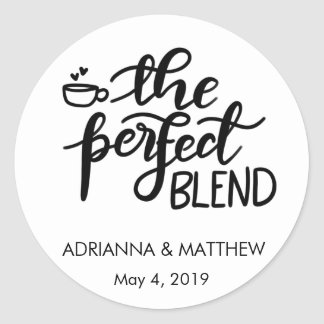 The Perfect Blend Whimsical Wedding Favour Classic Round Sticker
