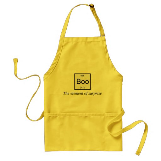 The periodic table element of surprise is Boo, Aprons