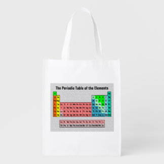 The Periodic Table (Simple w/ Element Background) Reusable Grocery Bag