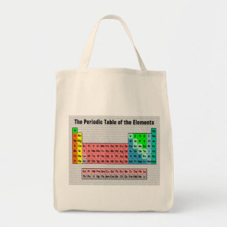 The Periodic Table (Simple w/ Element Background) Grocery Tote Bag