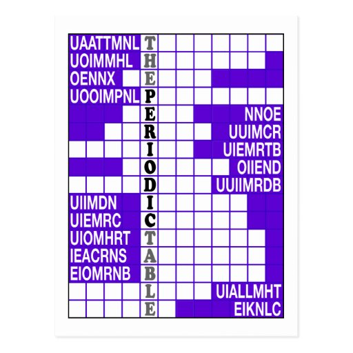 The Periodic Table Word Scramble Post Card