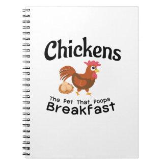 The Pet That Poops Breakfast Chicken Funny Farmer Notebooks