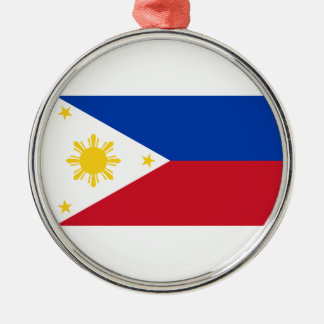The Philippines Flag Silver-Colored Round Decoration