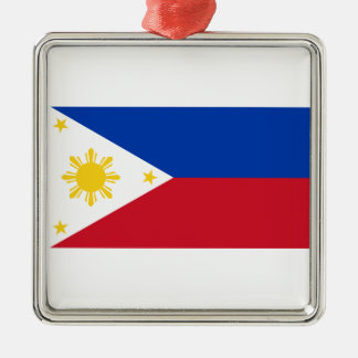 The Philippines Flag Silver-Colored Square Decoration