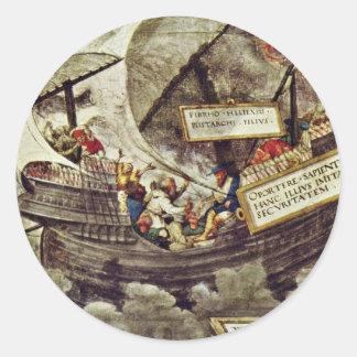 The Philosopher Pyrrho In Stormy Seas By Petrarca- Round Sticker