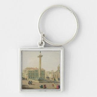 The Piazza Colonna, Rome Silver-Colored Square Key Ring