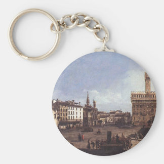 The Piazza della Signoria in Florence by Bernardo Basic Round Button Key Ring