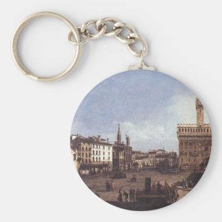 The Piazza della Signoria in Florence by Bernardo Key Ring