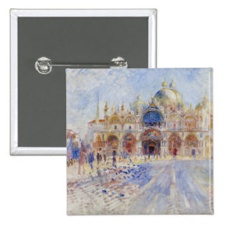 The Piazza San Marco, Venice, 1881 (oil on canvas) 15 Cm Square Badge