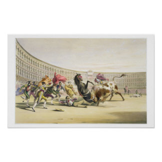 The Picador in Danger, 1865 (colour litho) Poster