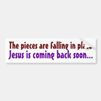 The pieces are falling in place bumper sticker