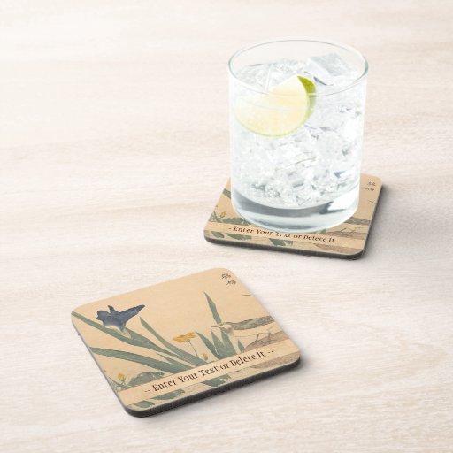 The Pied Wagtai and flower Kuwagata Keisai ukiyo-e Beverage Coaster