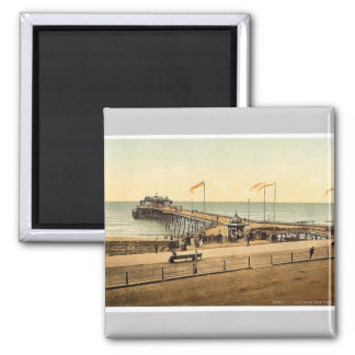 The pier, Hastings, England rare Photochrom Square Magnet